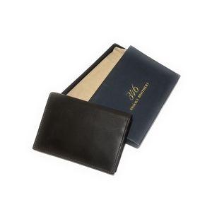 BROOKS BROTHERS Dark Brown Leather Bi Fold Wallet